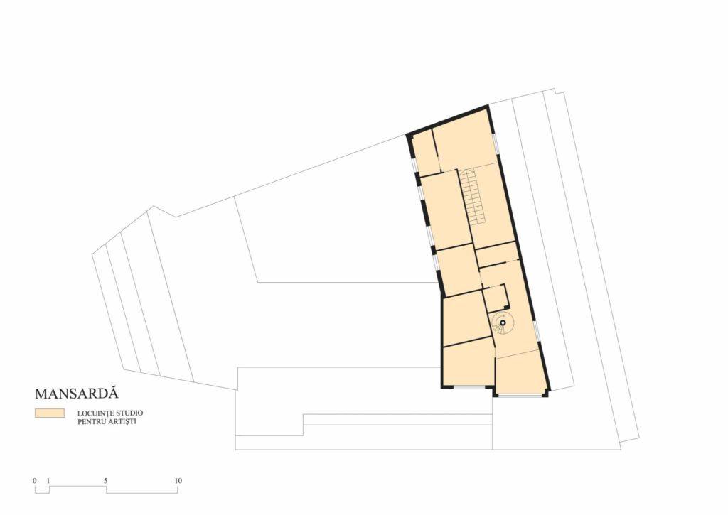 Imobilul Union (Lăzărescu), plan mansardă (cf. proiect 1945)