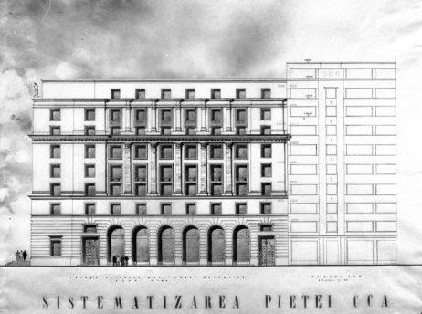 Premiul III - arhitecții: I. GIURGEA, STERE NICULESCU, M. NICOLAU, proiectul nr. 5, faţadă principală spre CCA şi faţadă laterală spre Bdul Republicii, imagini nepublicate în articolul sus-citat, cotație: cutia 23_NS_1242 și cutia 23_NS_1243.