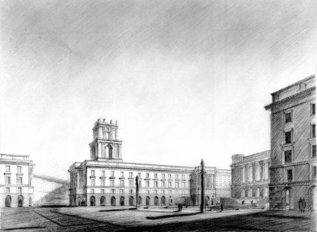 Mențiunea I - arhitecții: M. SĂNDULESCU, V. ASLAN, D. IOANOVICI, proiectul nr. 11, perspective, imagine nepublicată în articolul sus-citat, cotație: cutia 23_NS_1244 și cutia 23_NS_1247 (imagine publicată)