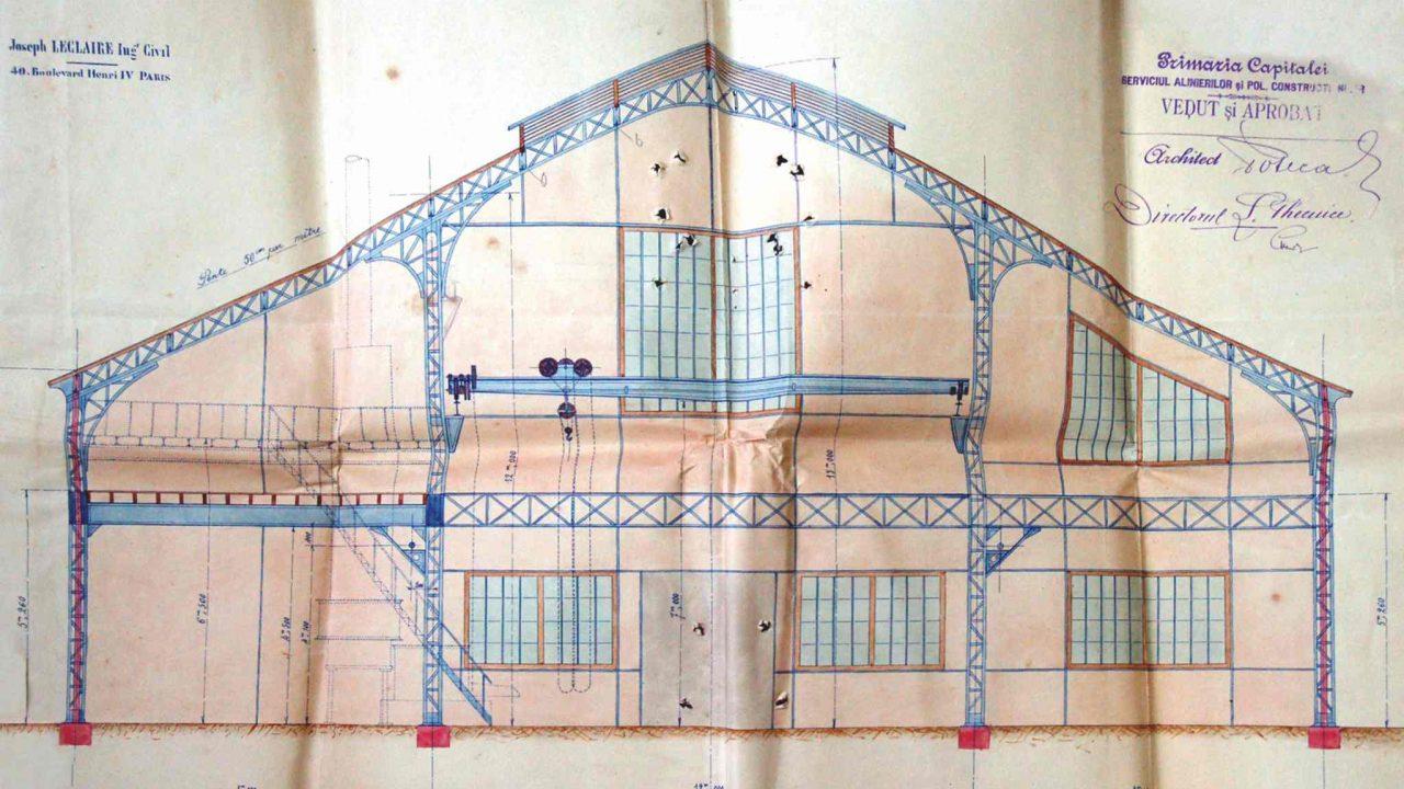 Secţiunea transversală a proiectului fabricii M.A. Bauer, Bucureşti (A.N. - D.M.B., Fond P.M.B., Serviciul Tehnic, Dosar 28/1893, f. 134)