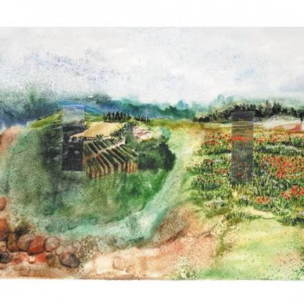 Marie Drouet, Paysage ailleurs, collage et encre acrylique sur papier, 65 X 92 cm, 2011 Photo © Alain Guillon