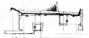 """Forma corpului principal începe să se precizeze: linia oblică a copertinei și echilibrarea ei printr-un fronton"""" M. Alifanti, Arhitectura, 6/1972, p. 25"""