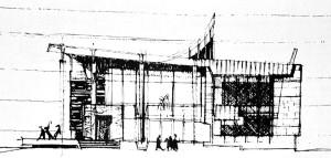 """""""Poziția stâlpilor și construcția lor este definitivă"""" M. Alifanti, Arhitectura, 6/1972, p. 26,"""
