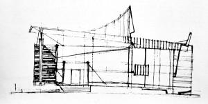 """Am reluat totul (...) Rezemare pe un singur stâlp. Poate nu întâmplător o consider cea mai bună schiță (cea mai concisă exprimare) pentru această fațadă"""" M. Alifanti , Arhitectura, 6/1972, p. 26,"""