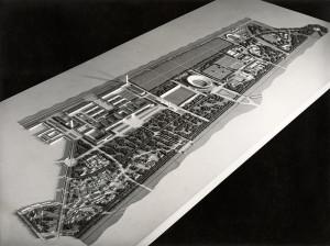 Alexander Popp, Hermann Kutschera, Anton Ubl, Entwurf Messe-, Spații expoziționale și terenuri sportive în Prater, Viena, 1942© Architekturzentrum Wien, Sammlung;