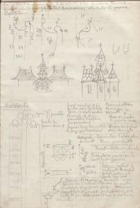 """Schițele provin din """"Caiet cu relevee, desene și descrieri monumente, de H. Teodoru, 1927-1948"""", arhiva I.N.P., fond C.M.I.;"""