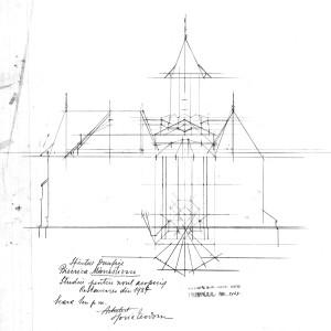 """Biserica """"Sf. Onufrie"""" Mănăstioara, studiu pentru noul acoperiș, arh. Horia Teodoru, 1937;"""