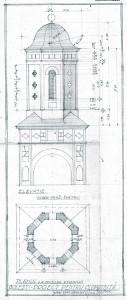 """Biserica """"Sf. Treime"""" Golești, proiect clopotniță, arh. Horia Teodoru, 1944;"""
