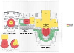 Sala Studio, cota +12,00, variante de mobilare, Corp C, Sala Pictură, supantă, cota +8,75, Corp Anexă, parter Sala Mare, cota +8,75, Corp A1, Sala Mare