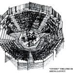 Sala Studio, varianta arenă, schiță realizată de arh. Antonio Teodorov;