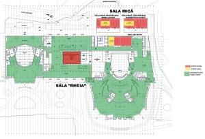 Cota generală -1,00, parter, Sala Media, foaier, Sala Mare, Sala Studio, restaurantul actorilor, Corp Anexă;