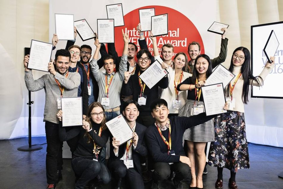 Velux at World Architecture Festival with architect students from around the world. Here the students receive their individual Regional Award from the judges.