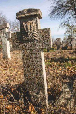 Fig. 35 Cruce de secol XIX, cimitirul parohial Ştefăneşti, Călăraşi. Sunt prezente două motive: Sfântul Duh şi Adam