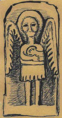 """Fig. 40 Detaliu de cruce, secol XIX, desen după o fotografie din Paul Petrescu şi Georgeta Stoica, Dicţionarul de artă populară (Editura Enciclopedica, Bucureşti, 1997, p. 377). Acest detaliu făcea parte dintr-o lucrare monumentală (2,40 m ), """"Crucea Frumoasă"""", 1880, amplasată în vârful dealului Istriţei,de către meşterul crucer Grigore Mihai-Berbec. Ansamblul a fost distrus, fragmentele sunt la Muzeul Judeţean Buzău"""