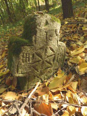 Fig. 45 Cruce de secol XIX, Ştefăneşti, Călăraşi, cimitirul parohial. Aceste două cruci (Fig. 45-46) se disting prin simplitatea şi concizia formei. Rozeta cu şase petale incizată de meşterul popular este un ornament precreştin
