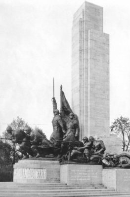 Monument to Infantry, raised in 1936 and pointlessly dismantled in 1940 to make place to the Monument of King Ferdinand I.  Sculptor: Ion Jalea. Arhitect: Nicolae Georgescu