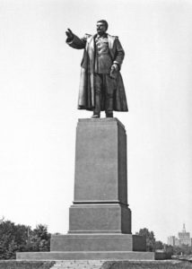 Statue of I.V. Stalin, located at the entrance in Herăstrău Park, raised in 1951 and demolished in 1962. Socle: arh. Marcel Locar.