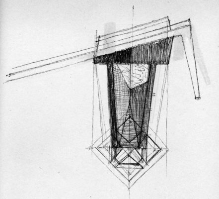 Drawings and sketches for the Baia Mare City Hall, extracted from the details notebook of the architect Mircea Alifanti (generously put of our disposal by the sITA Journals and mrs. Ioana Florian)
