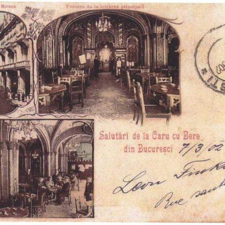 Caru' cu bere in 1902 (picture postcard)