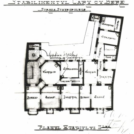 2nd floor plan, 1898 Source: National Archives of Romania, Bucharest Municipality Department, File no. 629/1898
