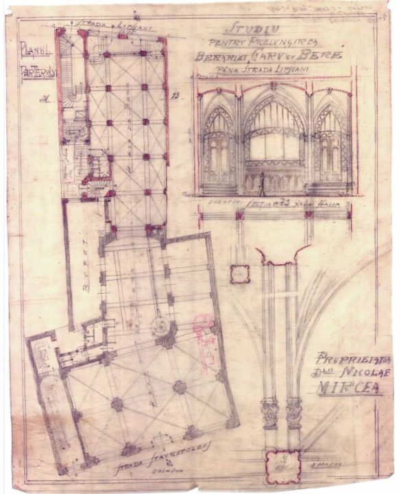 Expansion study. Ground floor and details Source: Mircea family archive