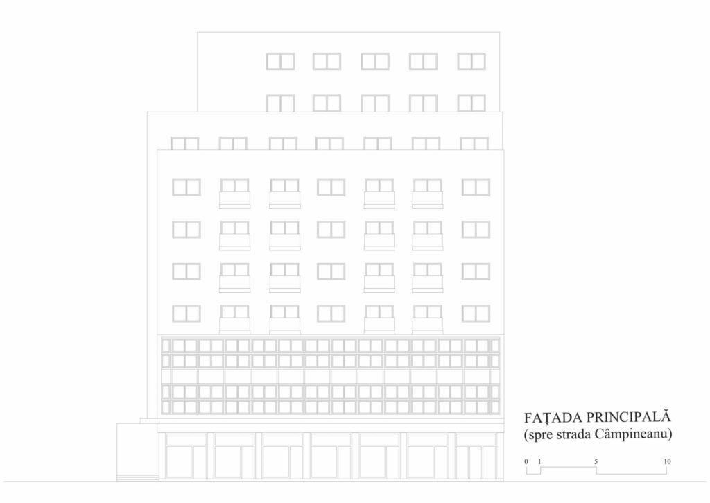 Union building (Lăzărescu), facade (cf. project 1945)