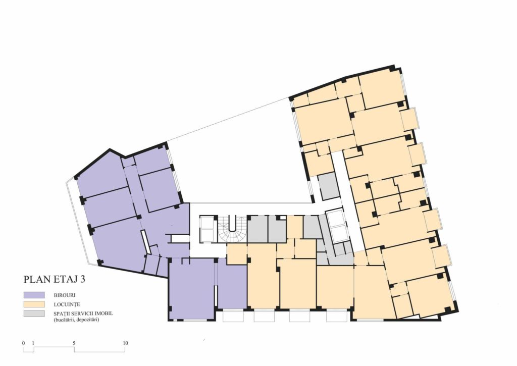 Union building (Lăzărescu), 3rd floor plan (cf. project 1945)