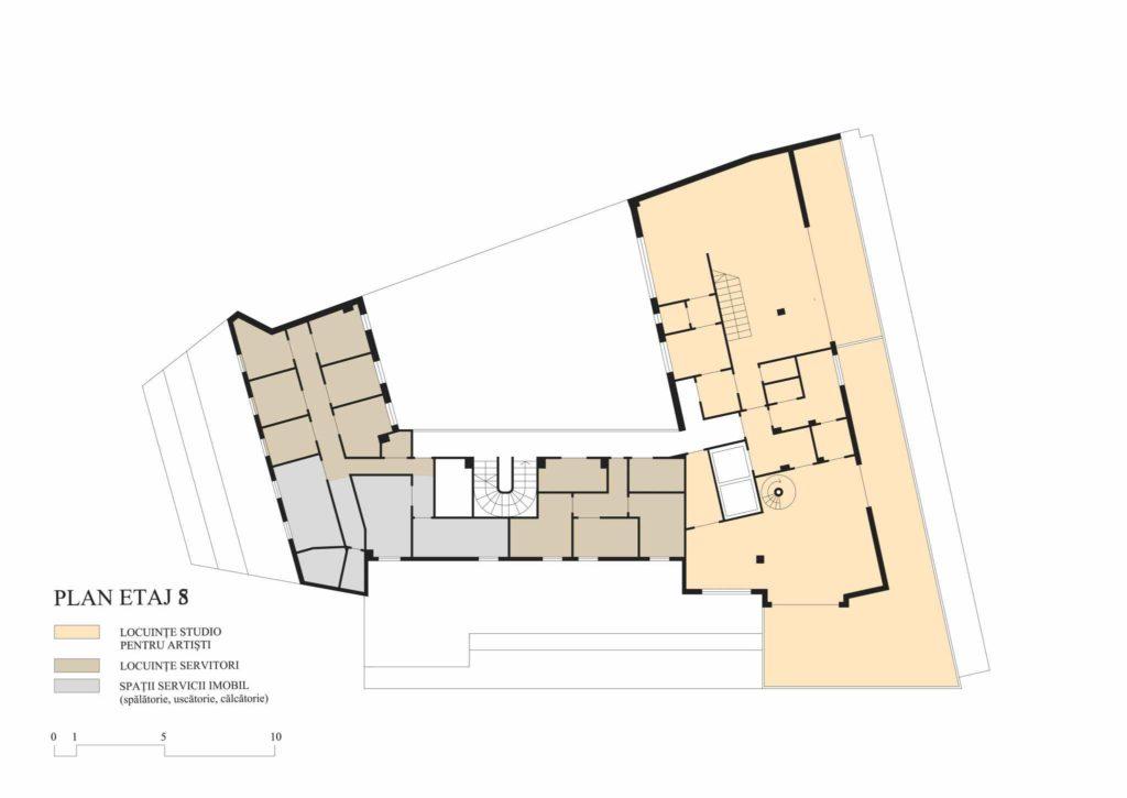 Union building (Lăzărescu), 8th floor plan (cf. project 1945)