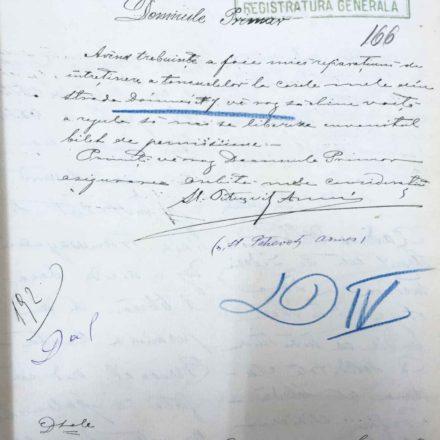 """Documentul prin care Ștefan Petrovici solicită """"mici reparațiuni de întreținere a tencuielilor""""  sursa: ARHIVELE NAȚIONALE, PMB TEHNIC, 15/1893"""