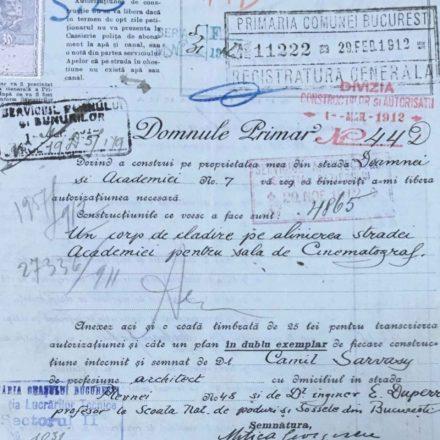 Solicitarea de construcție a Cinematografului Apollo, sursa: ARHIVELE NAȚIONALE, PMB TEHNIC 348/1912