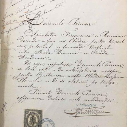 Societatea Financiara a României solicită construirea unui birou la intersecția Doamnei cu Academiei , sursa: ARHIVELE NAȚIONALE, PMB TEHNIC 1873