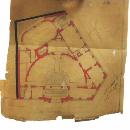 Planul sediului proiectat de Gottereau, spațiu ce este mai târziu adaptat pentru proiecția de film, sursa: ARHIVELE NAȚIONALE, PMB TEHNIC 1873