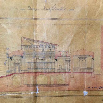 Secțiunea imobilului proiectat de Gottreau, sursa: ARHIVELE NAȚIONALE, PMB TEHNIC 1873