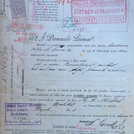 Solicitare pentru ridicarea Cinematografului Lux, sursa: ARHIVELE NAȚIONALE, PMB TEHNIC 143/1913