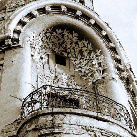 Palatul Moskovits I (Miksa Moskovits), 1905, arhitect Kálmán Rimanóczy Jr., strada Parcul Traian, nr. 2, colț cu Strada Republicii; detaliu balcon de colț