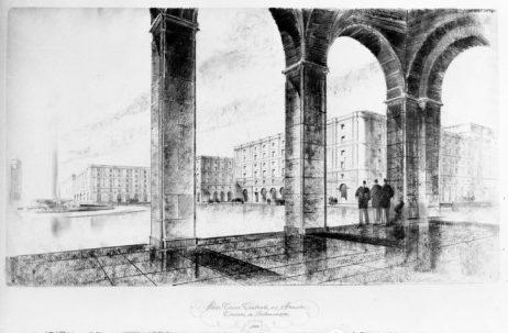Mențiunea a II-a - arhitecții T. Niga , I. Florea, proiectul nr.12, perspectivă,  imagine publicată în articolul sus-citat, cotație: cutia 23_NS_1250.