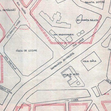 """Schema suprafeţei care face obiectul concursului Sursa: """"Gazeta municipală"""", nr. 208, din 1936, p. 3"""