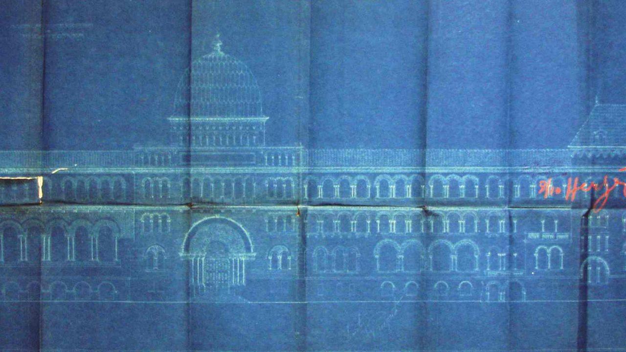 Grigore Cerchez: Şcoala de arhitectură, Bucureşti, 1912, faţada principală (A.N. – D.M.B., Fond PMB Serviciul Tehnic, dosar 166/1912, f. 188)
