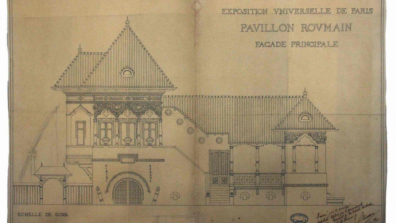 Ion Mincu: Proiectul (nerealizat al) pavilionului României la Expoziţia universală, Paris, 1888 (Muzeul Naţional de Artă al României, Cabinetul de Desene şi Gravuri, inv. 111233/46)