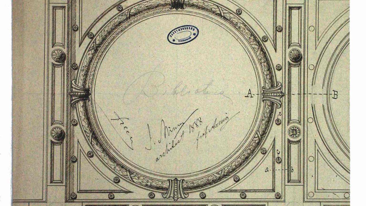Ion Mincu: proiect pentru decorarea plafonului bibliotecii, Casa Vernescu, 1888 (Muzeul Naţional de Artă al României, Cabinetul de Desene şi Gravuri, inv. 111255/68)