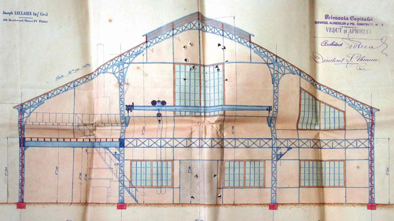 Transversal section of M.A. Bauer factory project, Bucharest (National Archives - D.M.B., Bucharest City Hall Fund, Technical Service, Dossier 28/1893, f. 134)
